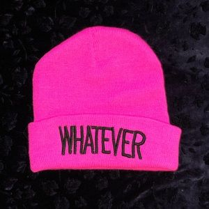 "Hot pink ""WHATEVER"" beanie"